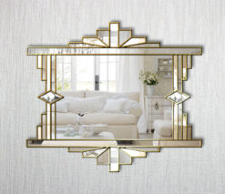 mia art deco gold trim mirror