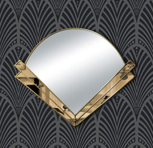 clarice art deco bronze glass silver trim wall mirror