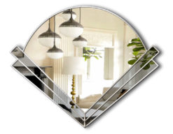 clarice art deco grey glass wall mirror