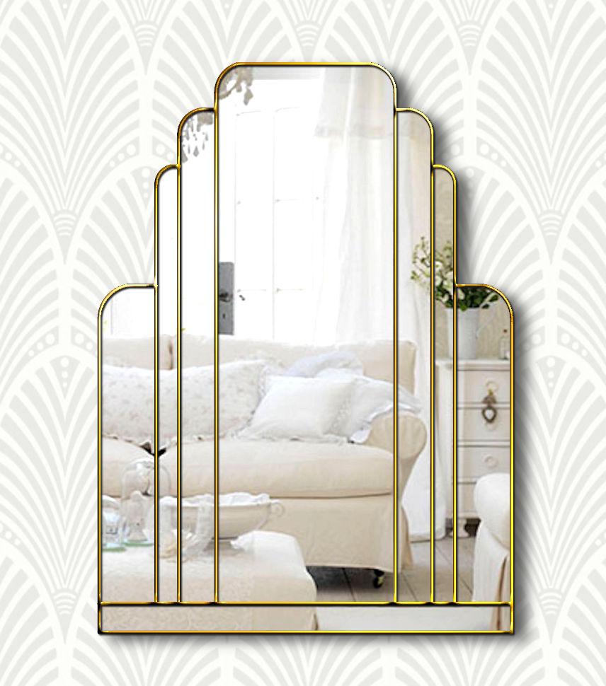 Manhattan Original Handcrafted Art Deco Wall Mirror With Gold Trim Bespoke Mirrors Art Deco Mirrors Custom Made Mirrors