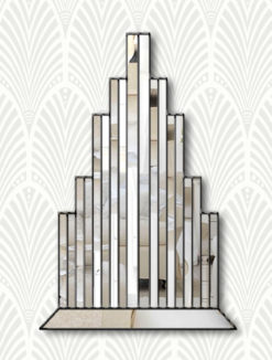 new york art deco wallpaper black trim wall mirror