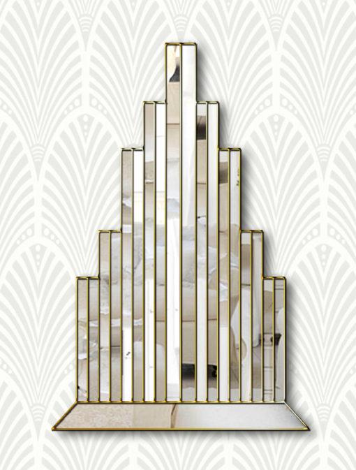 new york art deco wallpaper gold trim wall mirror