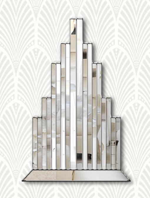 new york art deco wallpaper silver trim wall mirror