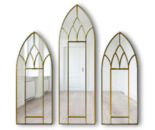 Alonso Original Handcrafted Gothic 3 Piece Wall Mirror in Gold
