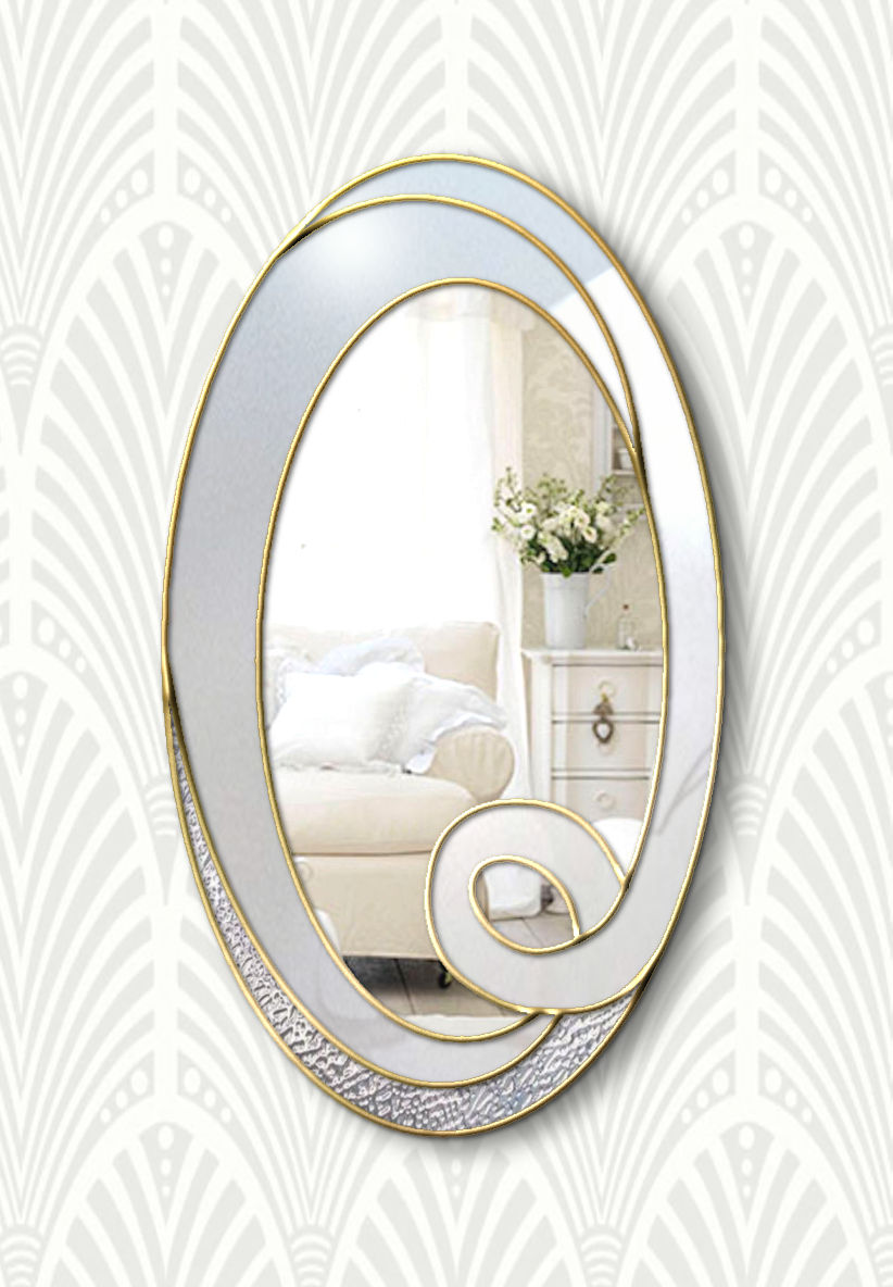 hope white and gold modern wall miror