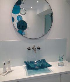 Aqua Splash Coloured Glass Modern Wall Mirror