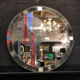 eclipse art deco wall mirror grey