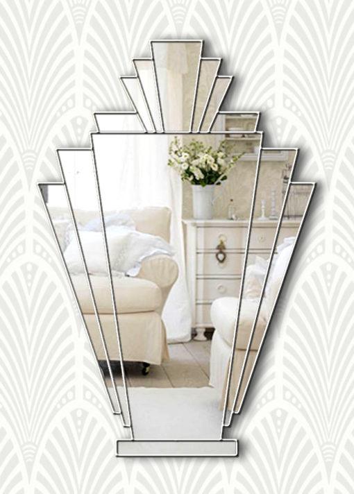 babushka art deco silver wall mirror