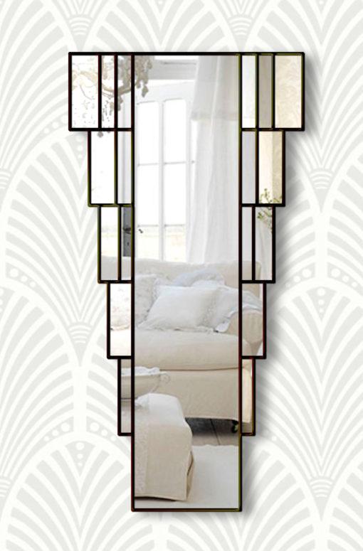 rialto black art deco wall mirror