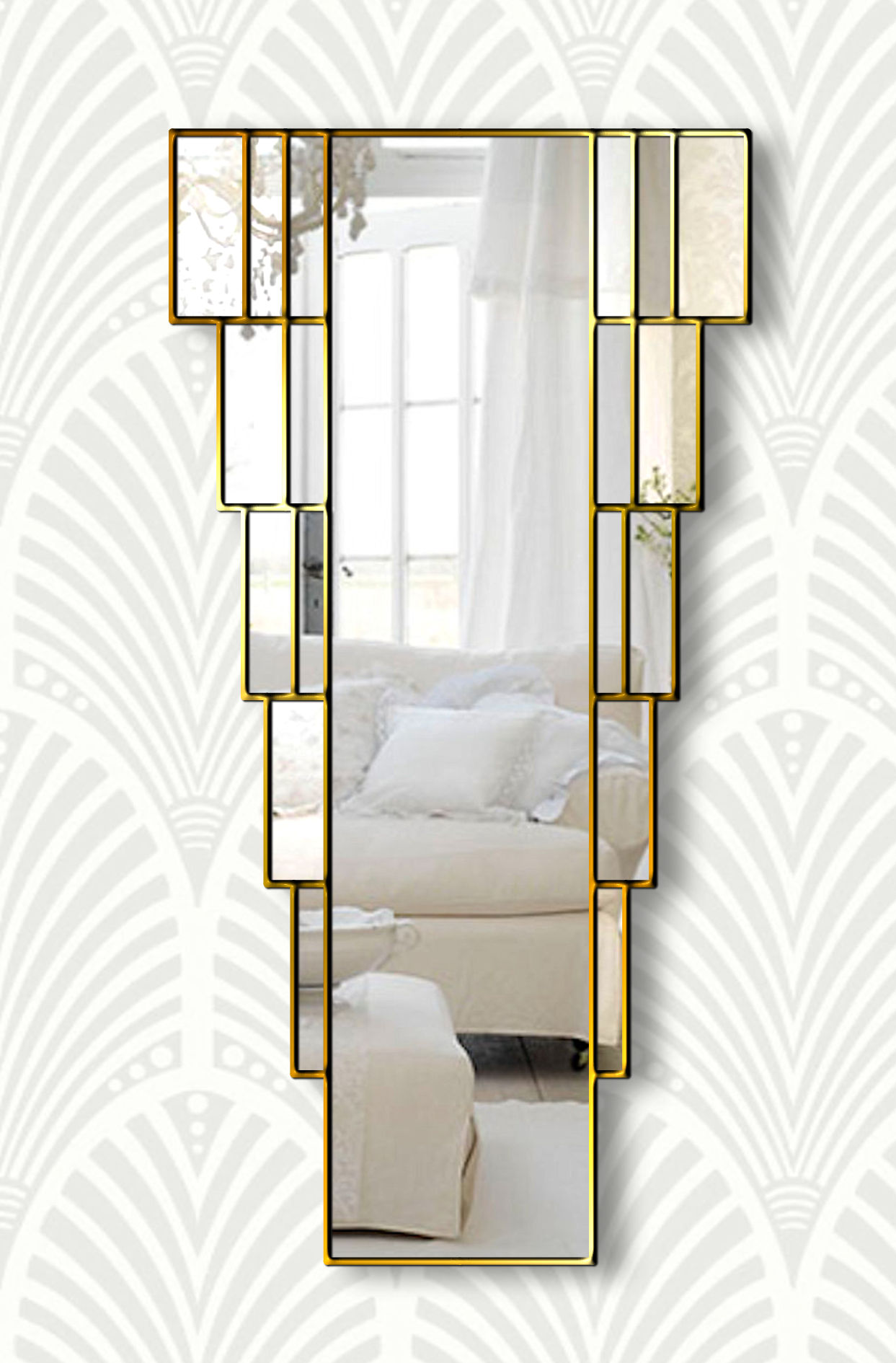 rialto goldart deco wall mirror