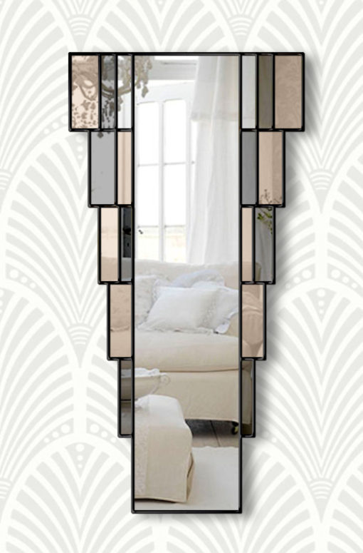 rialto art deco smokey wall mirror