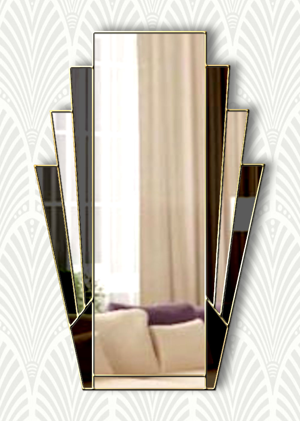 Minerva Original Handcrafted Fan Art Deco Wall Mirror With Black Glass And Gold Trim Bespoke Mirrors Art Deco Mirrors Custom Made Mirrors