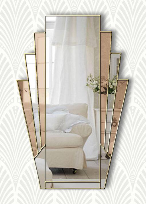 minerva bronze mirror gold trim mirror