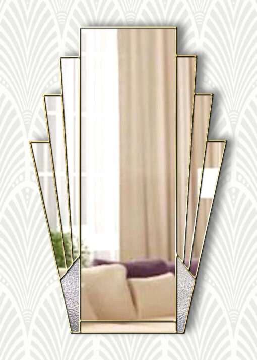 minerva clear with texture at bottom panels only gold trim mirror