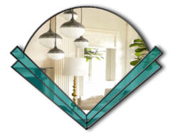 art deco fan mirror teal