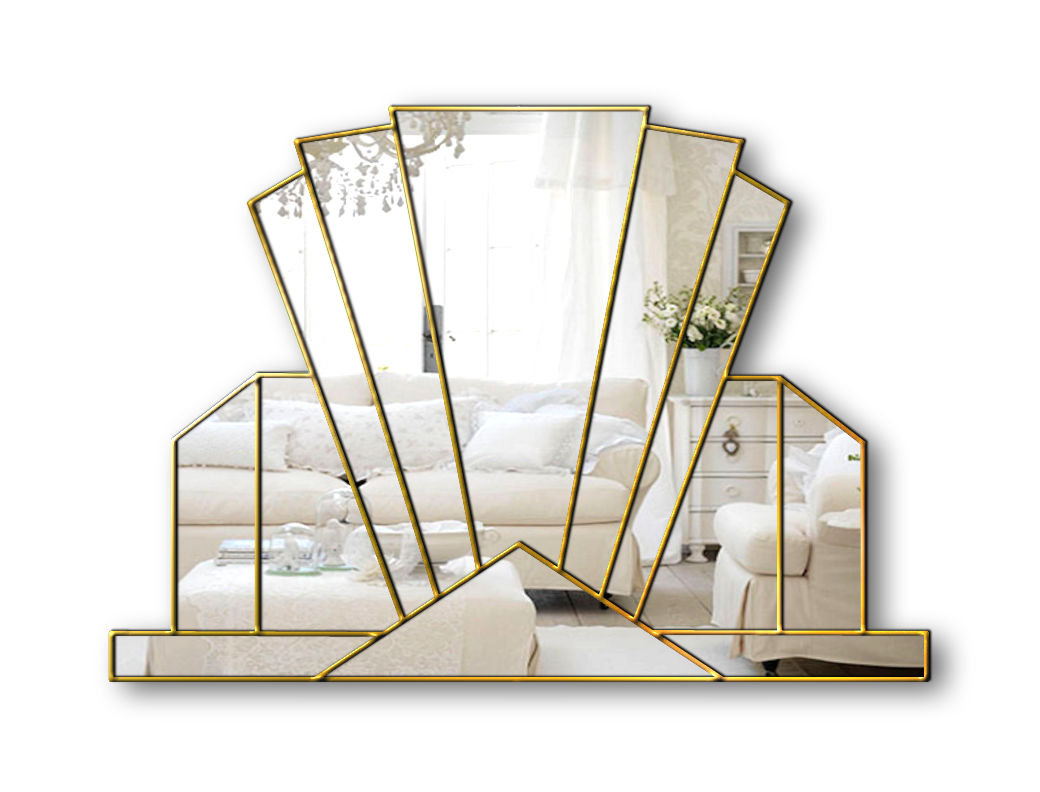 knightsbridge gold art deco fan mirror