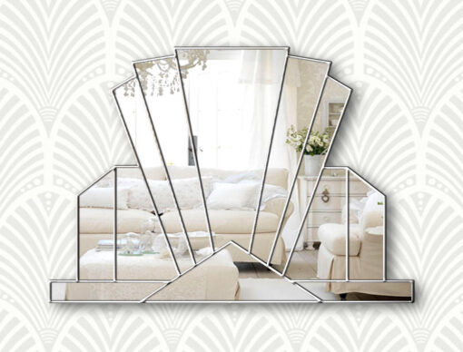 Knightsbridge silver wallpaper art deco wall Mirror