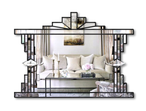melody in black art deco wall mirror