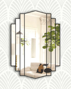 Artemis ebony trim art deco wall mirror