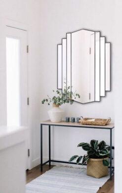 Artemis black art deco wall mirror