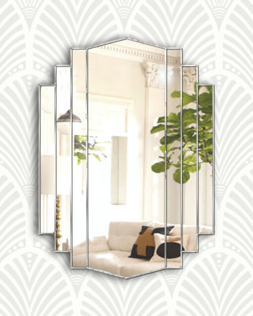 Artemis silver art deco wall mirror