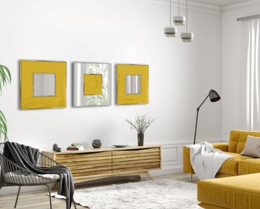 Indulgence yellow dc 70 x 70 modern wall mirror