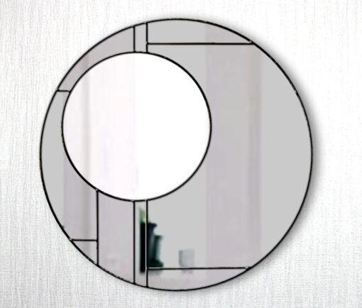 Lloyd smoked ebony trim art deco wall mirror