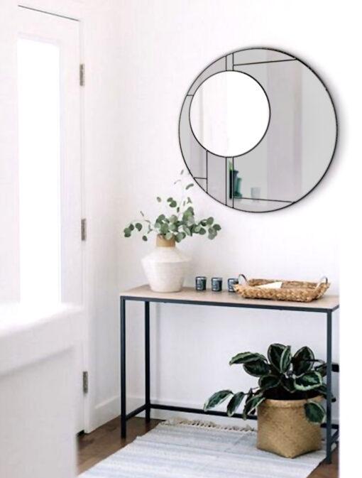 Lloyd smoked ebony trim room setting art deco wall mirror