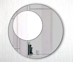 Lloyd smoked silver trim art deco wall mirror