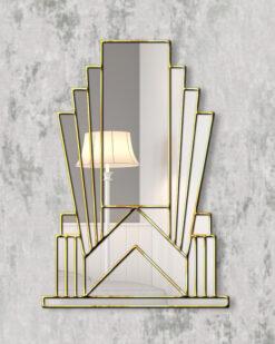 Aurora gold trim art deco over mantle wall mirror