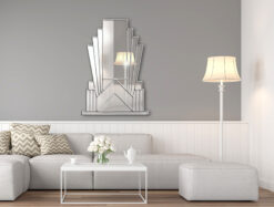 Aurora room setting 3 silver art deco over mantle wall mirror
