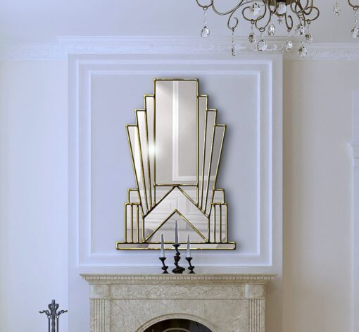 Aurora room setting 4 cropped art deco over mantle wall mirror