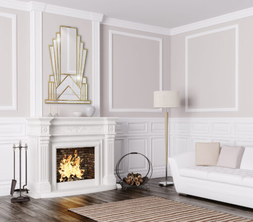 Aurora room setting 3 gold art deco over mantle wall mirror