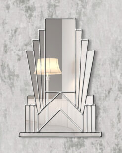 Aurora silver trim art deco over mantle wall mirror