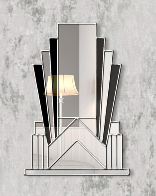 Aurora silver trim black glass over mantle art deco wall mirror