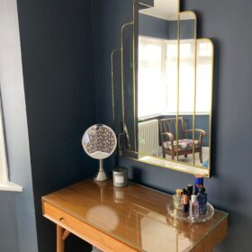 TUSCAN IN GOLD ART DECO OVER MANTLE WALL MIRROR