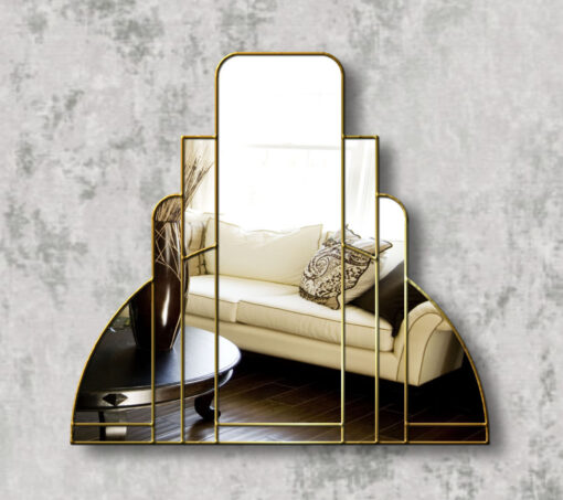 miami gold trim art deco over mantle wall mirror