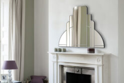 Miami room setting trim silver art deco over mantle wall mirror