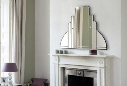 Miami room setting trim silver art deco over mantle wall mirror