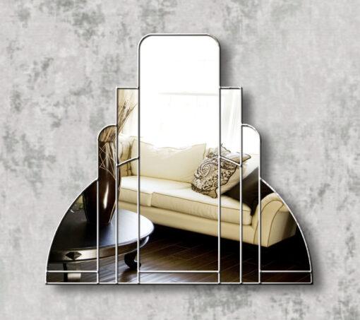 miami silver trim art deco over mantle wall mirror