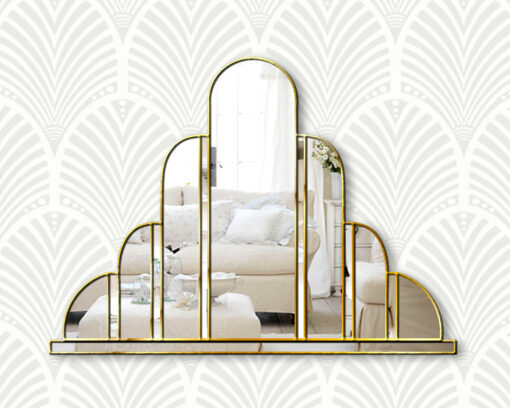 Turin Gold trim art deco over mantle wall mirror