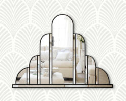 Turin black art deco wall mirror