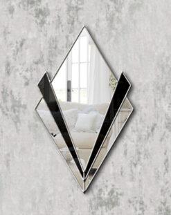 Zante silver trim black glass art deco wall mirror