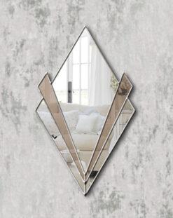 Zante silver trim bronze mirror art deco wall mirror