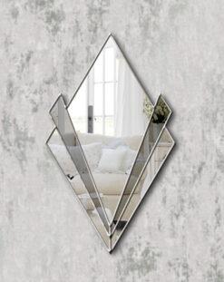 Zante silver trim smoked mirror art deco wall mirror