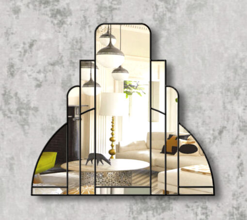 miami black trim art deco over mantle wall mirror