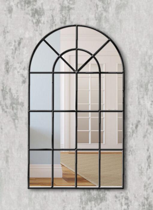 Arabella black modern window wall mirror