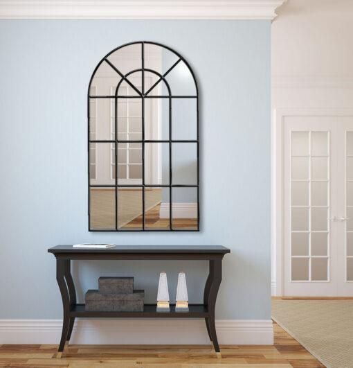 Arabella black modern hallway window wall mirror