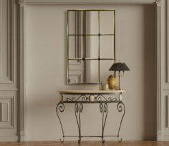 Mirabel gold trim room setting window mirror