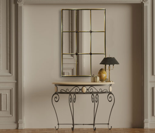 Mirabel gold trim room setting window mirror